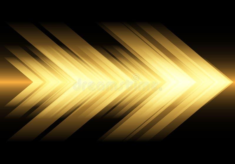Velocità astratta della freccia della luce gialla sul vettore futuristico moderno del fondo di tecnologia di progettazione nera illustrazione di stock