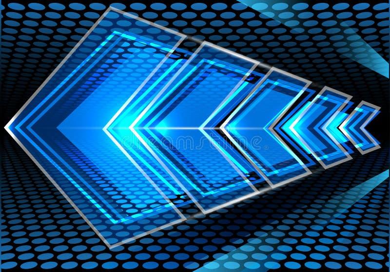 Velocità blu astratta della freccia sul vettore moderno del fondo di progettazione della maglia del cerchio illustrazione vettoriale