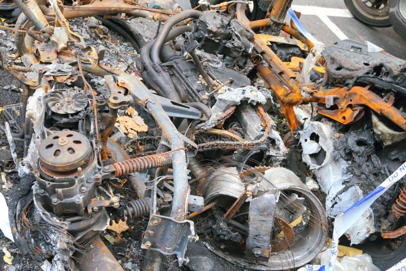 Velomotor queimado fotografia de stock