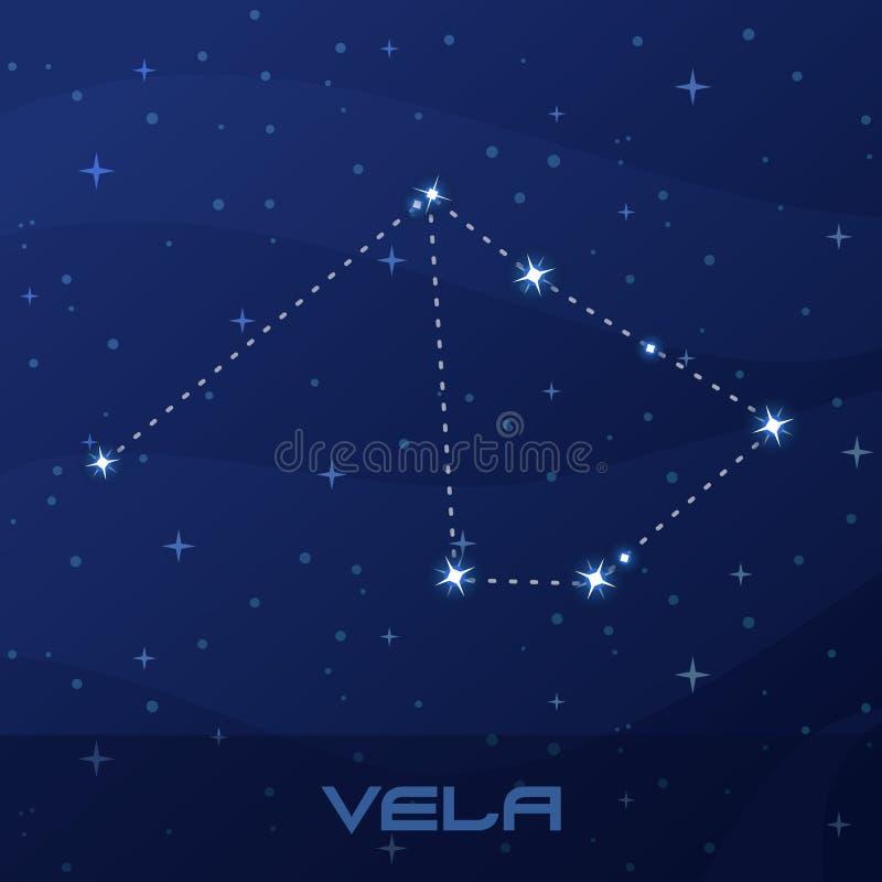 Velos de la constelación, velas, cielo de la estrella de la noche stock de ilustración