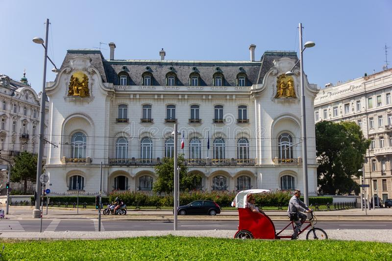 Velotaxi for tourists near the Russian embassy. Vienna, Austria, 19 August, 2018 Velotaxi for tourists near the Russian embassy stock photos