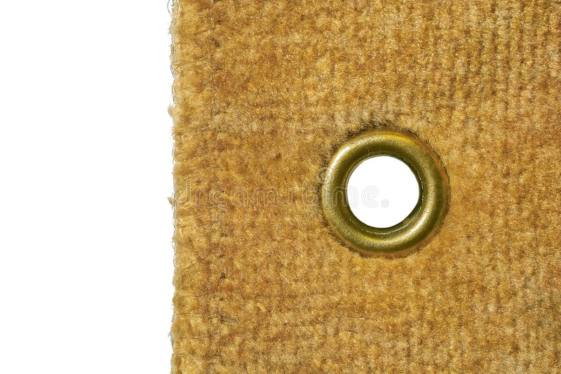 Velour with a rivet. An isolated object on a white background royalty free stock photo