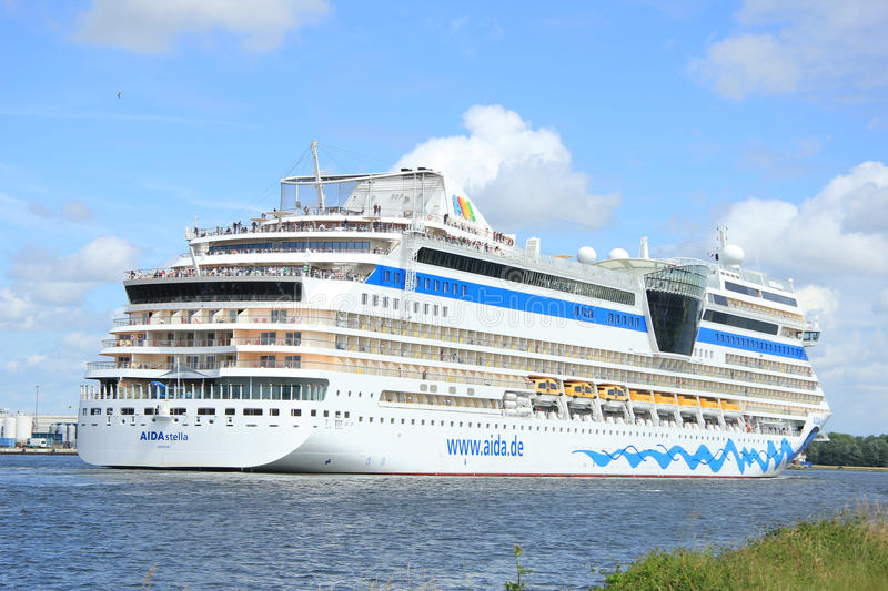 Velsen, the Netherlands -June 22nd, 2014: Aida Stella on North S. Ea Canal, on it`s way to the Amsterdam Cruise Terminal stock image