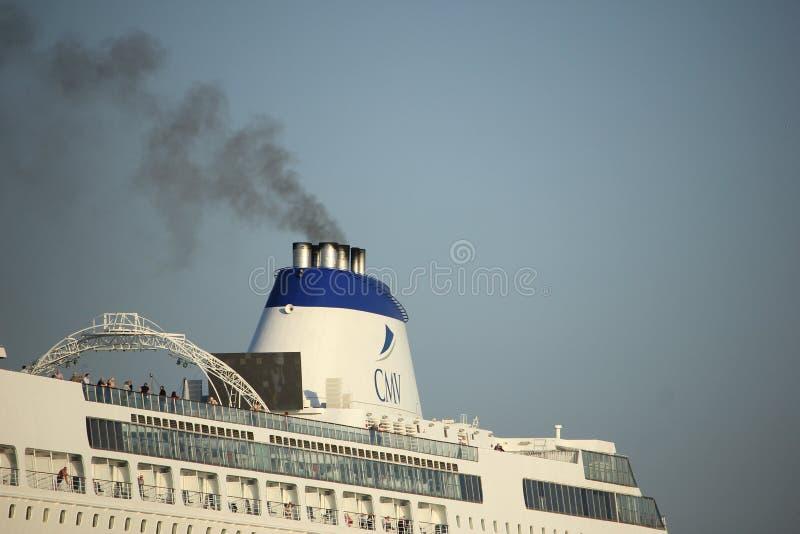 Velsen, Paesi Bassi - Oktober, quindicesimo 2017: Cruiseship di Columbus, dettaglio di imbuto fotografia stock libera da diritti