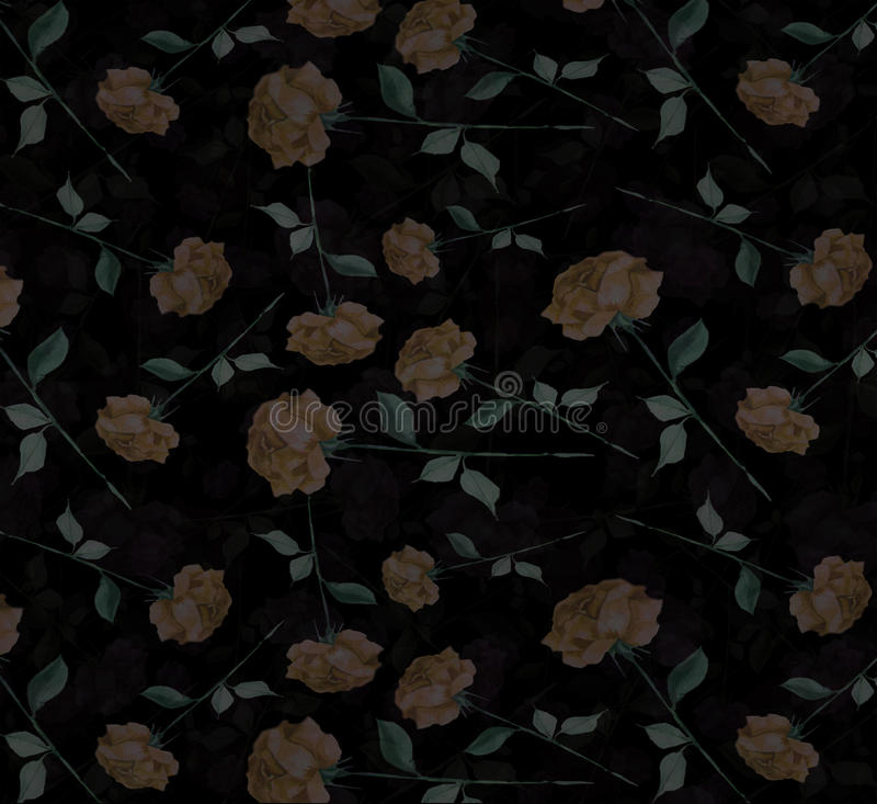 Velvet mysterious Watercolor abstract rose flower art seamless wallpaper background royalty free stock photo