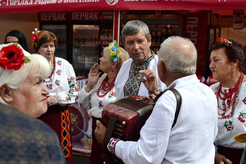 People dressed in traditional Ukrainian cloth vyshyvanka stock photo
