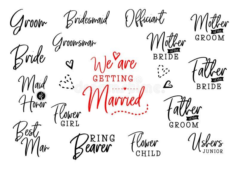 Vem är vem på bröllopuppsättning royaltyfri illustrationer