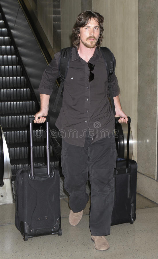 Ven al agente Christian Bale en LAX. imagenes de archivo