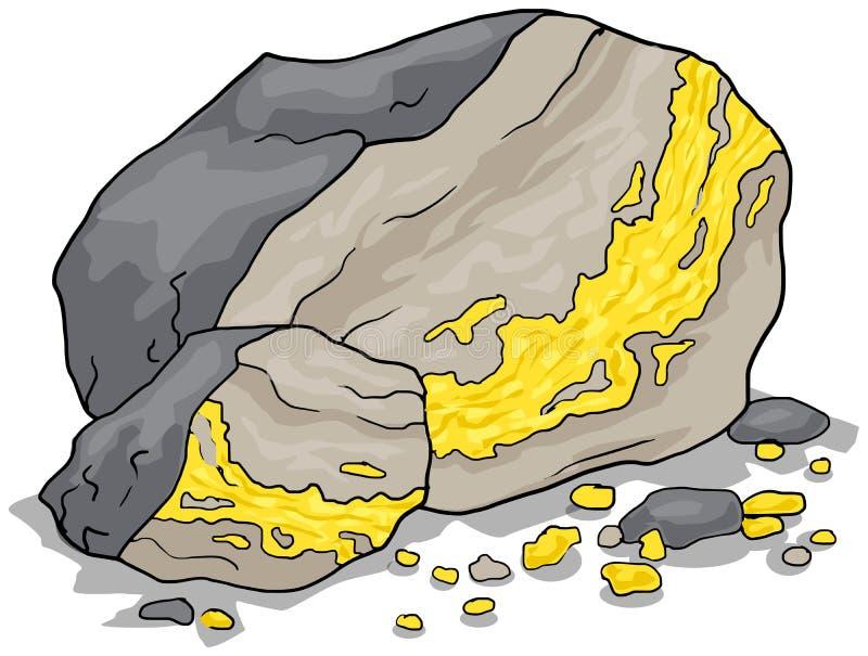 Vena del oro en una roca stock de ilustración