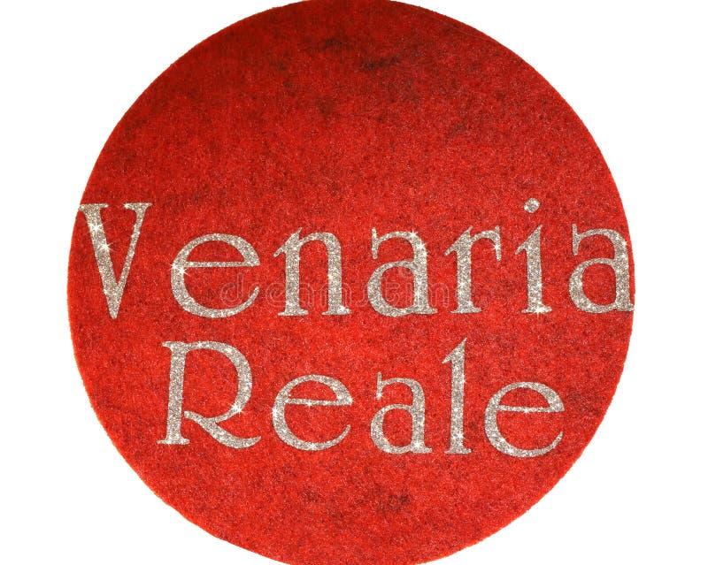 Venaria Reale escrito de uma cidade italiana com fonte do brilho fotografia de stock