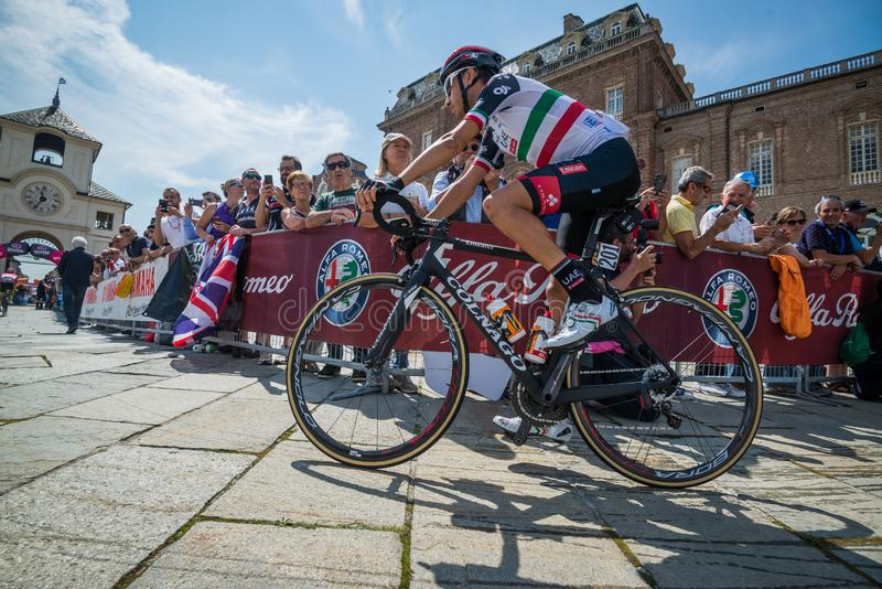 Venaria Reale, Italy May 25, 2018: Professional Cyclists in transfer from the bus to the podium signatures. Before a hard mountain stage of the Tour of Italy stock photos