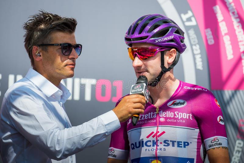 Venaria Reale, Italy May 25, 2018: The Purple jersey Viviani Elia , during an interview before the start. Of the hardest montain stage of the Tour of Italy 2018 royalty free stock images