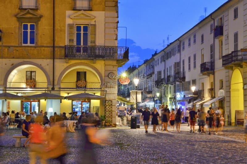 Venaria Reale, Piedmont, Italien Juli 2019 Piazzadella Annunziata royaltyfri fotografi