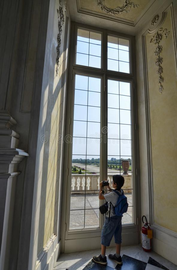 Venaria Reale, Piedmont region, Italy. June 2017. A look out on the majestic gardens of the palace stock image