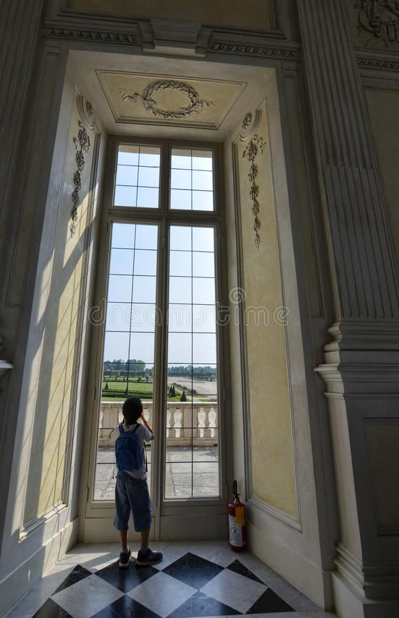 Venaria Reale, Piedmont region, Italy. June 2017. A look out on the majestic gardens of the palace royalty free stock image