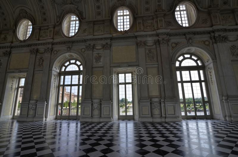 Venaria reale, Piedmont region, Italy. June 2017. The magnificent Grand Gallery or Diana stock photo