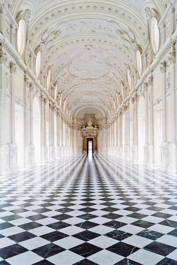 Venaria Royal palace. The famous Savoy royal palace in Turin, Italy. Amazing gallery filled with light