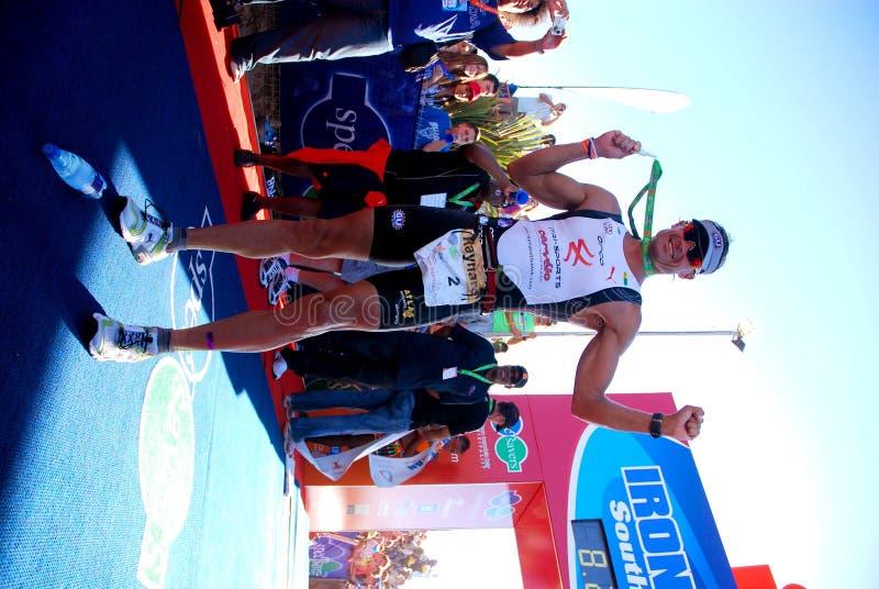 Vencedor 2010 de Ironman África do Sul fotografia de stock