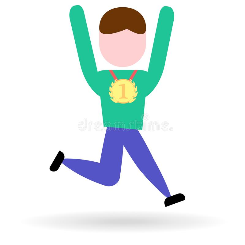 Vencedor alegre do ícone liso com uma medalha de ouro ilustração do vetor