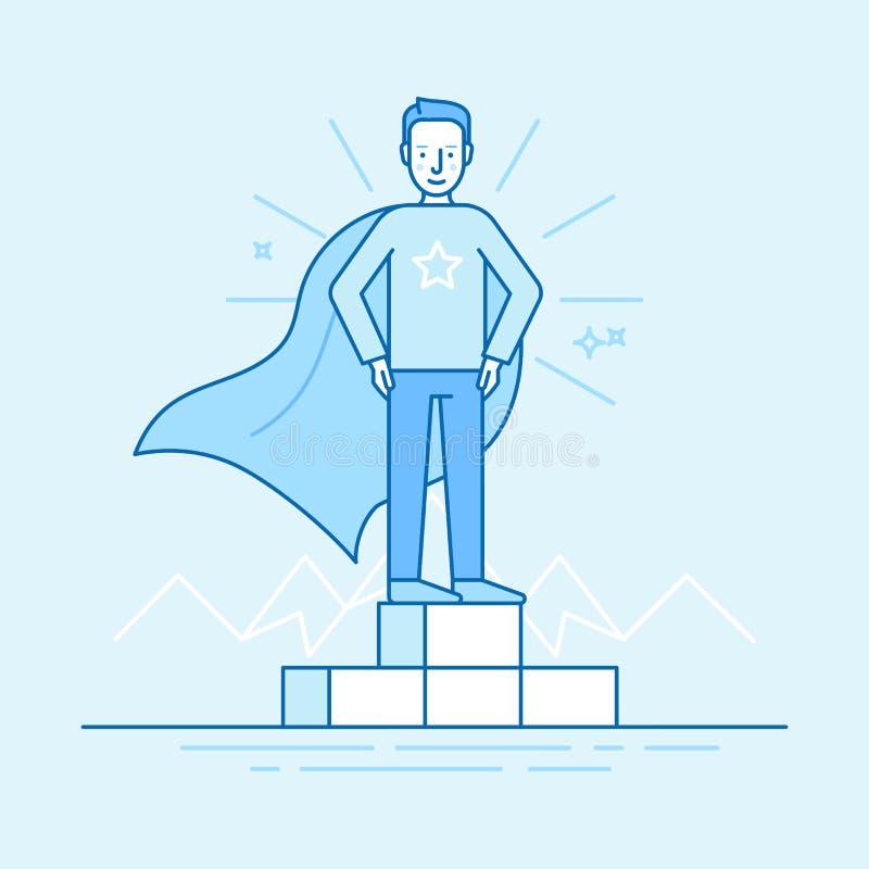 Vencedor da competição do negócio - super-herói ilustração stock