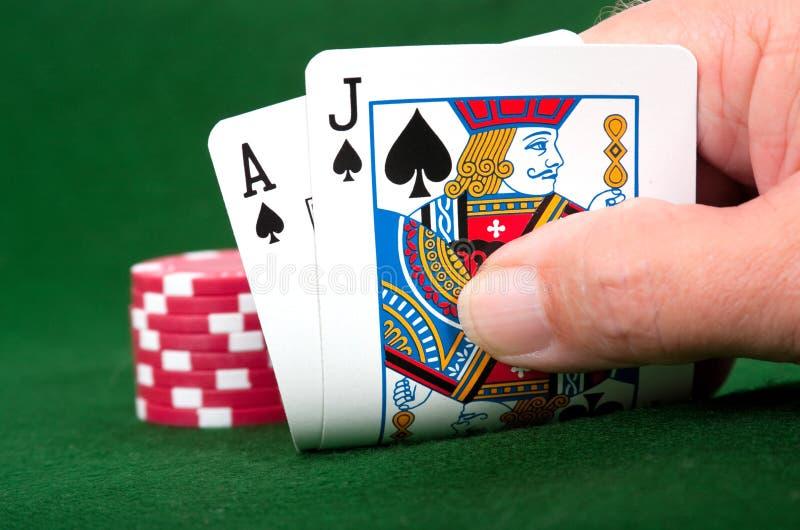 Vencedor do Blackjack imagens de stock