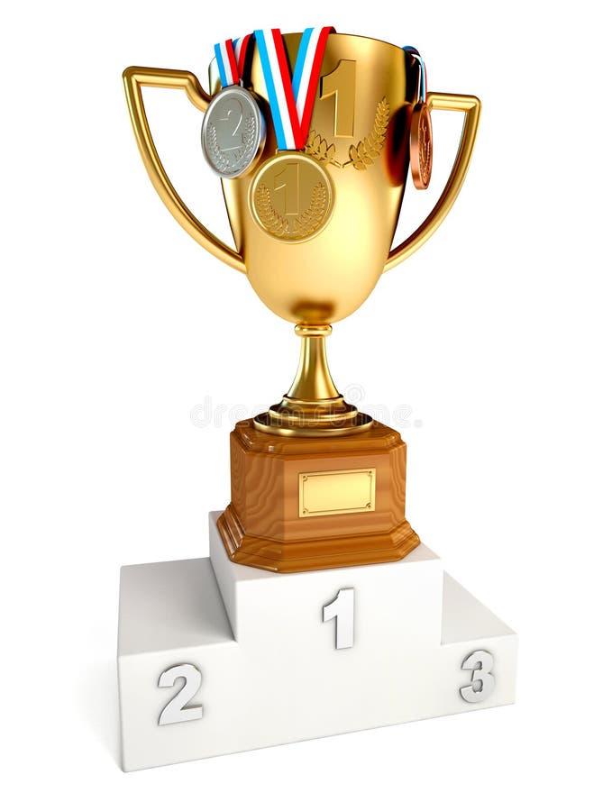 Vencedor do copo do ouro com as medalhas do ouro, as de prata e as de bronze ilustração stock