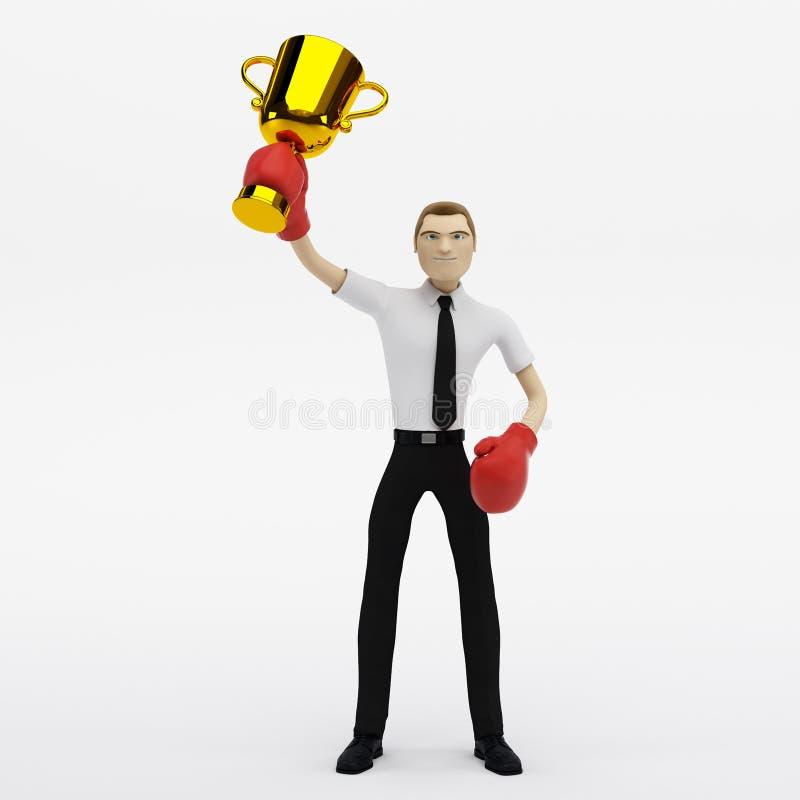 Vencedor do homem de negócios com um troféu ilustração stock