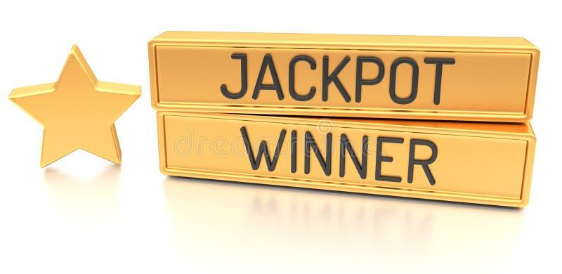 Vencedor do jackpot - bandeira 3d, no fundo branco ilustração do vetor