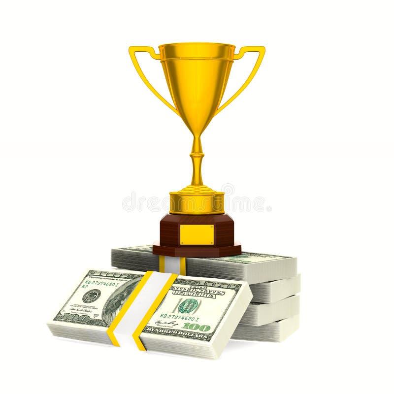 Vencedor e dinheiro do copo do ouro no fundo branco Illus 3D isolado ilustração stock