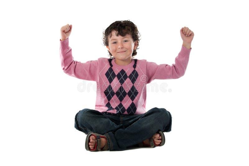 Vencedor feliz da criança fotos de stock royalty free