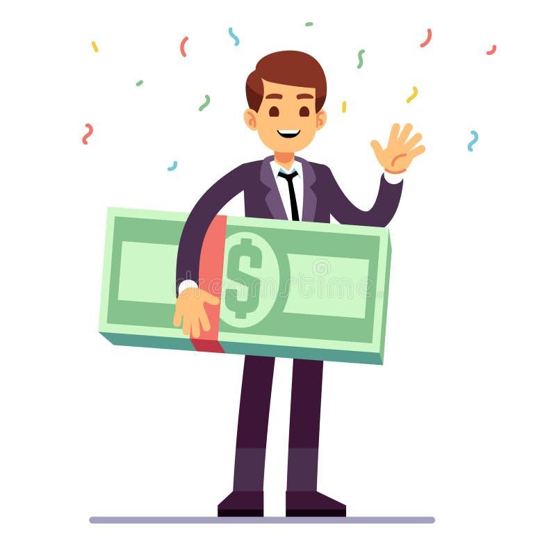 Vencedor feliz do adolescente que mantém dólares do dinheiro premiados Loteria, boa sorte e conceito de jogo do vetor do casino ilustração stock