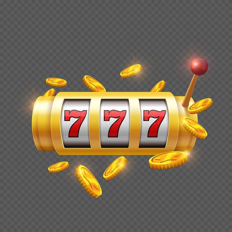 Vencedor que joga com slot machine ilustração royalty free