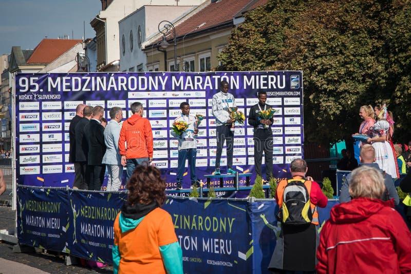 Vencedores da maratona internacional da paz fotografia de stock royalty free