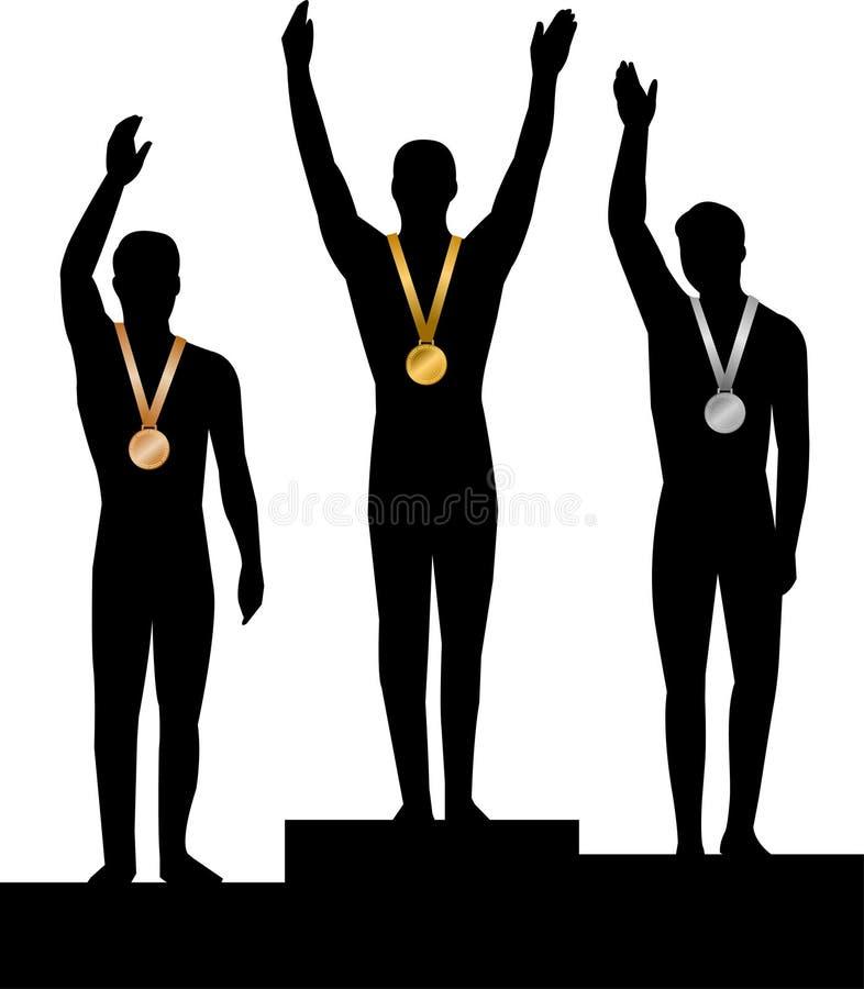 Vencedores de medalha Men/ai ilustração do vetor