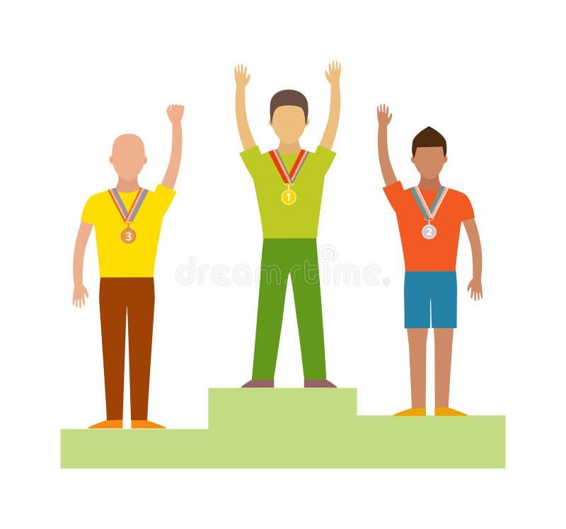 Vencedores de vencimento do corredor, vetor liso do esporte do sucesso ilustração royalty free