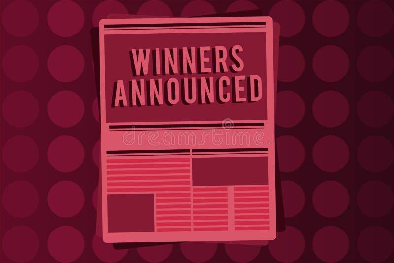 Vencedores do texto da escrita da palavra anunciados Conceito do negócio para anunciar quem ganhou a competição ou toda a competi ilustração stock