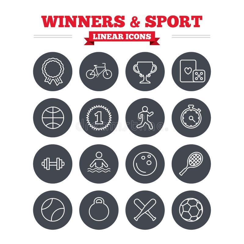 Vencedores e ícones lineares do esporte ajustados Esboço fino ilustração stock