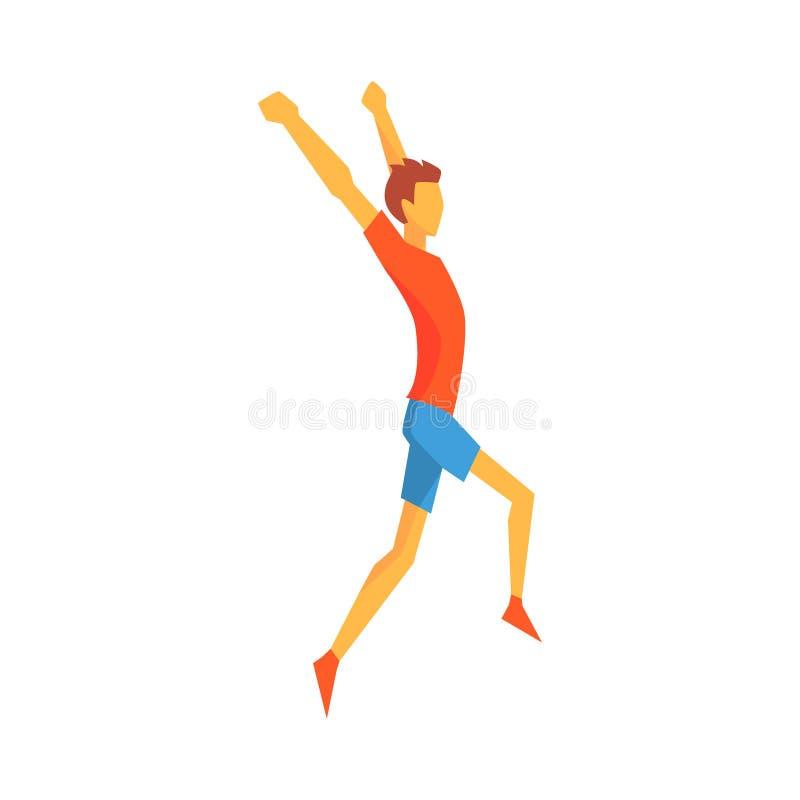 Vencimento do meta do cruzamento do homem, desportista masculino correndo a trilha na parte superior vermelha e curto azul em com ilustração royalty free