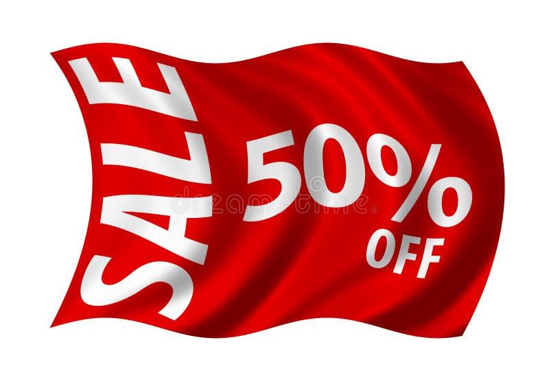 Venda 50% fora da bandeira ilustração royalty free