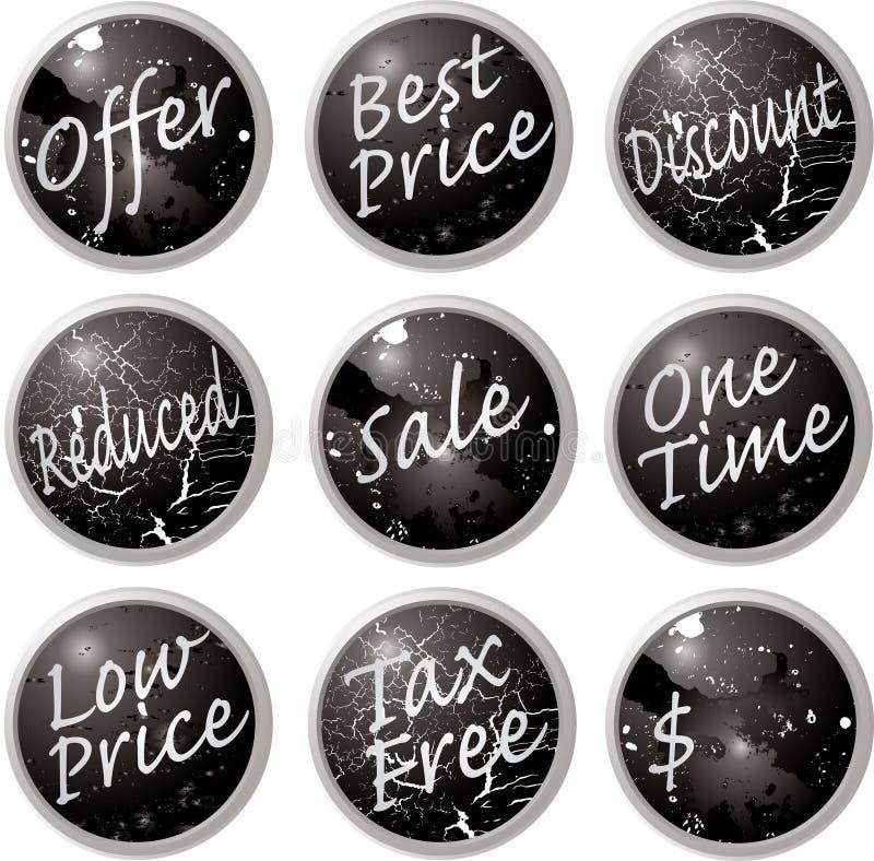 A venda abotoa o preto ilustração royalty free