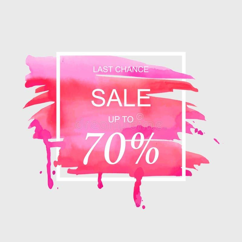 A venda até 70 por cento assina fora sobre a ilustração do vetor do fundo da textura do sumário da pintura do curso da aquarela d ilustração do vetor
