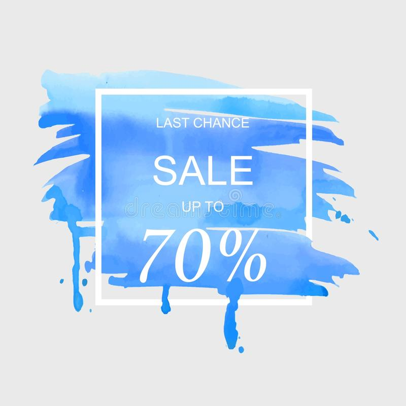 A venda até 70 por cento assina fora sobre a ilustração do vetor do fundo da textura do sumário da pintura do curso da aquarela d ilustração stock