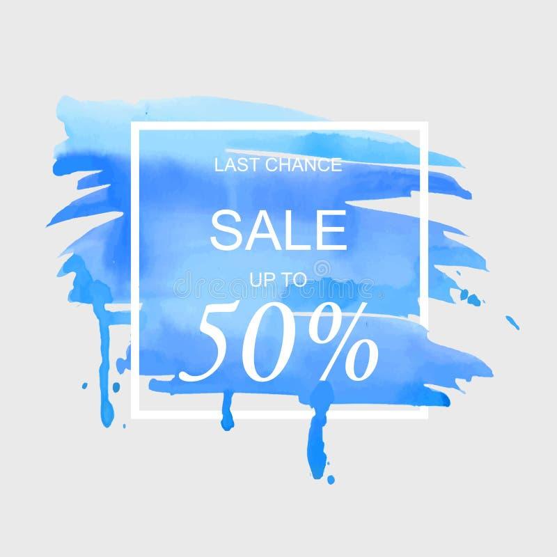 A venda até 50 por cento assina fora sobre a ilustração do vetor do fundo da textura do sumário da pintura do curso da aquarela d ilustração do vetor