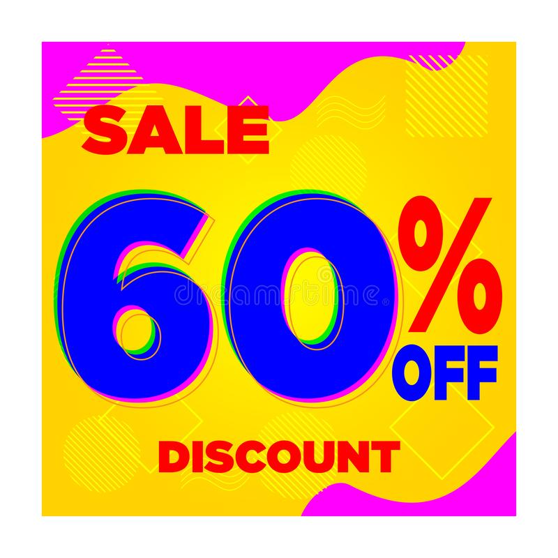 VENDA 10% AZUL AMARELO 20% 30% 40% 60% DISCOUNT-06 ilustração do vetor
