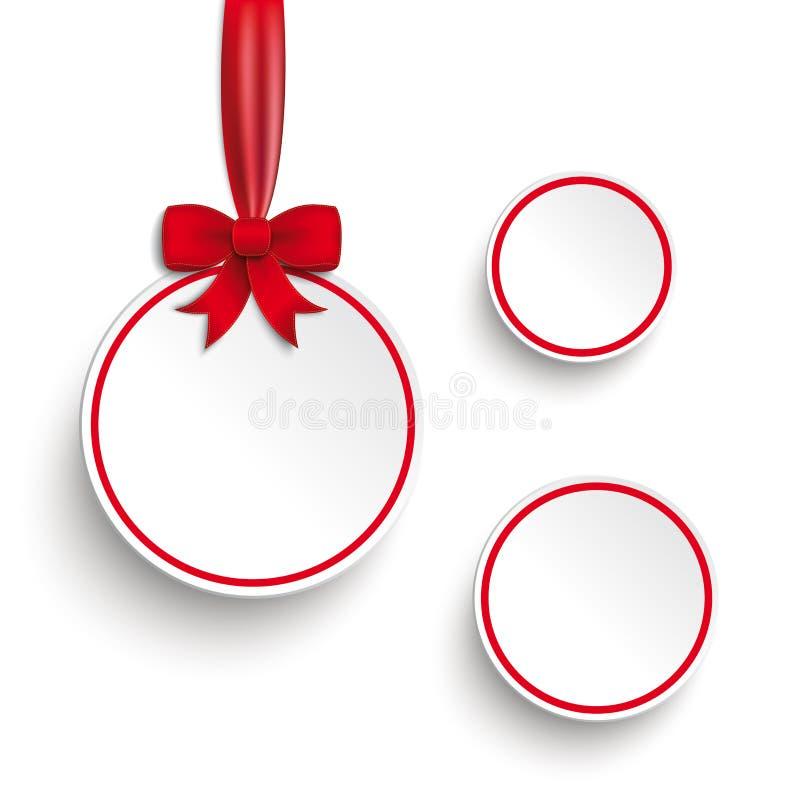 A venda branca circunda o fundo vermelho do branco da fita ilustração stock