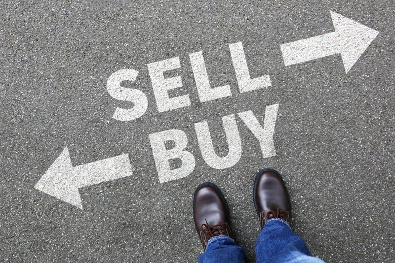 Venda a compra que vende os bens de compra que trocam o ônibus da operação bancária da bolsa de valores foto de stock