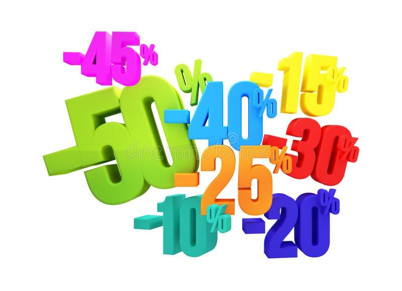 a venda 3d de 50% 45% 40% 30% 20% 15% 10% rende ilustração royalty free