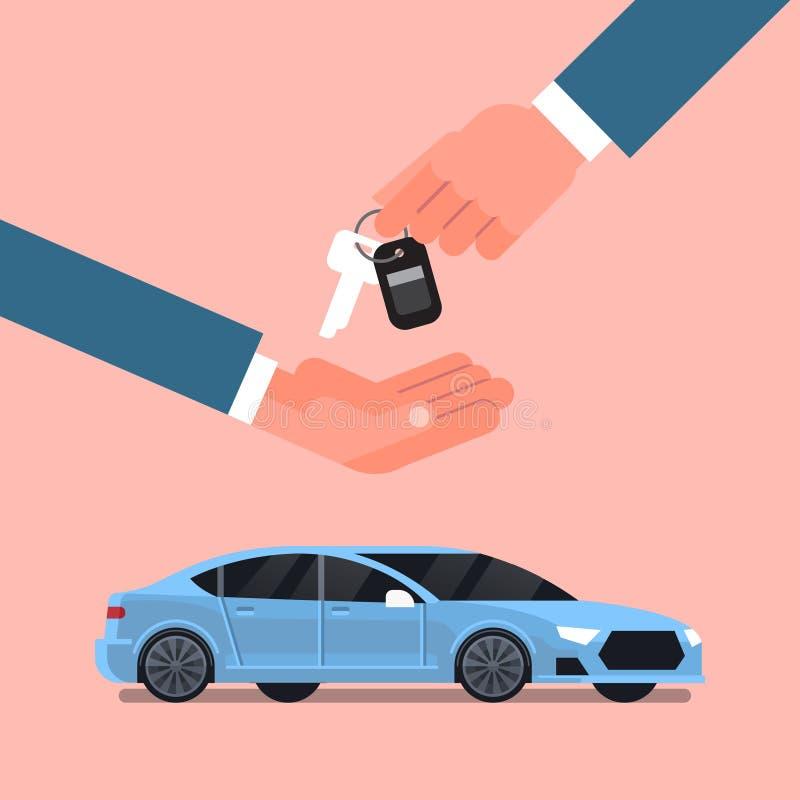 Venda da compra do carro ou conceito do arrendamento, mão do homem do vendedor que dá chaves ao proprietário sobre Vechicle novo ilustração stock