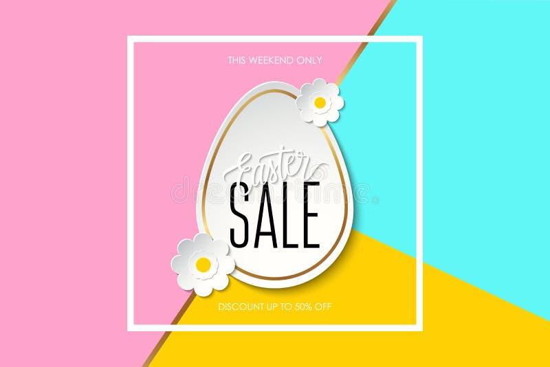 A venda da Páscoa estes ovo da páscoa da sagacidade da bandeira da oferta especial do fim de semana somente, flores e texto escri ilustração royalty free