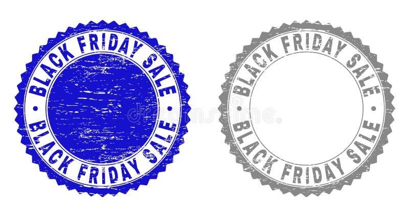 A VENDA de BLACK FRIDAY do Grunge Textured selos do selo ilustração stock
